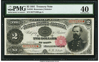 """1891 $2 FR-356 """"McPHERSON"""" Treasury Note - PMG Extremely Fine 40"""