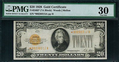1928 $20 Gold Certificate FR-2402* - Star Note - Graded PMG 30 - Very Fine