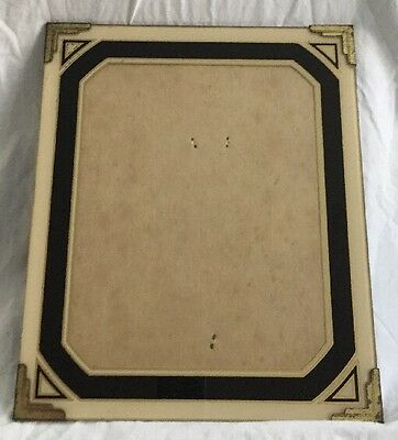 """Art Deco Creme/Black/Gold Picture Frame REVERSE PAINTED GLASS 12"""" X 10"""" Total"""