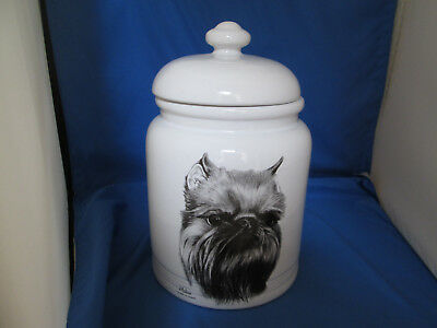 Rare Best of Show Brussels Griffon Porcelain Dog Treat / Cookie Jar by Rosalinde