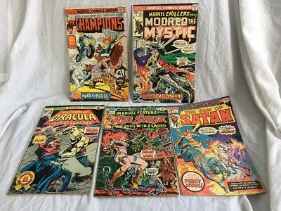 Vintage 1975-1976 Marvel Comic Book Lot Dracula,Son of Satan,Red Sonja,Champions