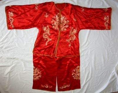 Qing Dynasty Chinese Silk Embroidered Jacket Shirt & Pants Dragons