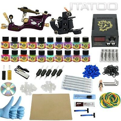 ITATOO Complete Tattoo Kit Rotary 2 Pro Machines 20 Color Inks Power Supply 5...