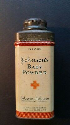Johnsons Baby Powder Vintage 1 3/4 ounces Wartime Tin Still Full L@@k.