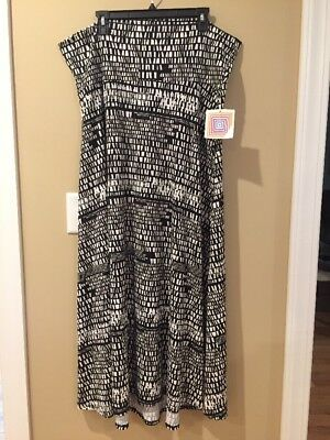 Lularoe Womens Black White Brown Maxi Skirt Size 3XL New With Tags