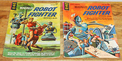 2x MAGNUS ROBOT FIGHTER no.2 & no.3 Gold Key 1963 Russ Manning Silver-age
