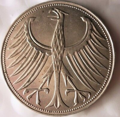 1951 J GERMANY 5 MARKS - AU - Strong Value Rare Silver Coin - Lot #916