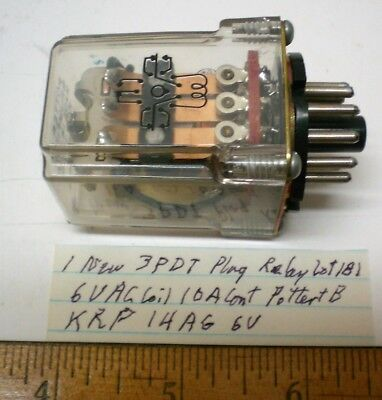 1 New Plug-In Relay 3PDT 6V AC Coils, 10A Cont. Potter&B #KRP14AG6V, Lot 181 USA