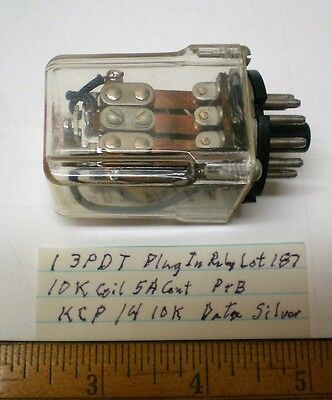1 New Plug-In Relay 3PDT 10K Coil, 5A Cont. Potter&B #KCP1410K, Lot 187,  USA