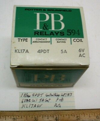 1 New Open Relay 4PDT 6 VAC Coil, 5A Cont. Potter&B #KL17A6, Lot 183,  USA