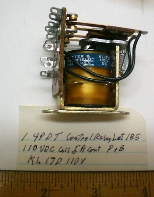 1 New Open Relay 4PDT 110 VDC Coil, 5A Cont. Potter&B #KL17D110, Lot 185 USA