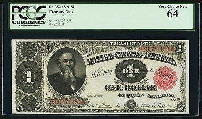 """1891 $1 FR-352 """"STANTON"""" Treasury Note - PCGS Very Choice Uncirculated 64"""