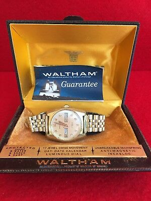 Vintage Waltham Incabloc Day Date, 17 Jewel Swiss Made Mens Watch
