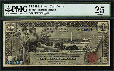 1896 $1 Silver Certificate FR-224 - Educational Note - Graded PMG 25 - Very Fine