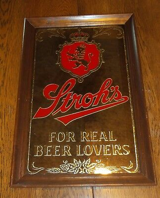 """Vintage Stroh's Beer Mirror Sign in Frame """"For Real Beer Lovers"""""""