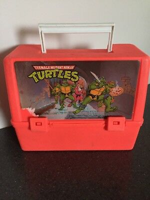 Vintage Teenage M Ninja Turtles Lunch kit Plastic Neon Thermos Lunchbox 1988