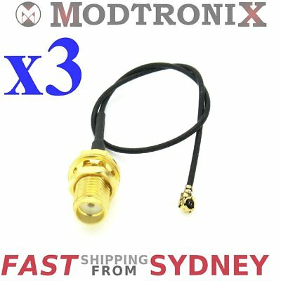 3x Antenna Extension Cable, SMA female bulkhead to UFL/IPX, RF, 15cm, SYDNEY