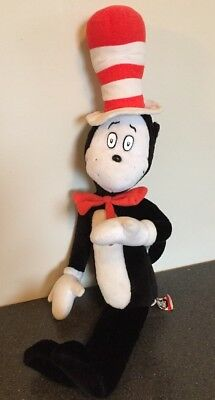 "Cat In The Hat Plush Bendy Doll Figure Official Dr.Suess 21"" Tall Black Red"