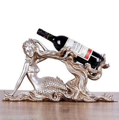 New European Decoration Gift Resin 1 Bottle Mermaid Pattern Wine Rack Holder &$
