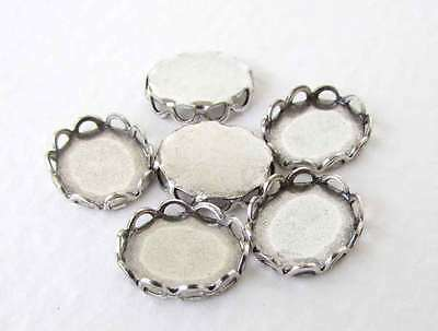 Cameo Settings Lace Edge Filigree Antiqued Silver Ox Bezel 10x8mm