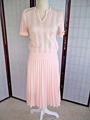 Vtg Cotton Candy Pink Knit sweater Suit top pleated  Skirt J T Martin Sz XS S