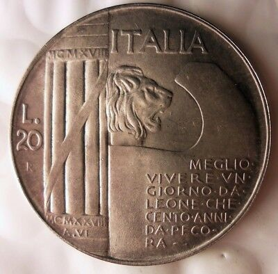 1943 ITALY 20 LIRE - AU/UNC - Super Rare Silver Coin - HUGE VALUE - Lot #916
