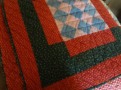"Antique c1900 Philladelphia Pavement Red Quilt 79"" x 77""/Hand Quilted/Excellent!"