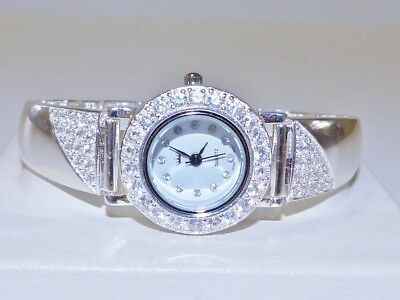 GENUINE!! 44.8gr Solid 925 Sterling Silver Bracelet Watch with CZ Accents!