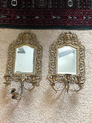 Antique VICTORIAN Brass And Brass Plated WALL Mirror SCONCE PAIR