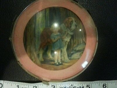 antigue saint bernard print round approximately 5""