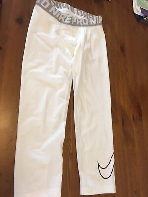 Nike Pro Men's 3/4 Length Compression Tights in White in Youth XL