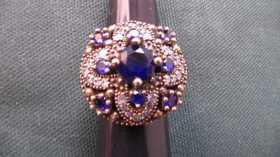 Huge Vintage 925 Solid Sterling Silver Sapphire and Topaz Gold Accent Ring # 006