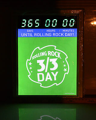 Rolling Rock Sign Lighted Countdown Clock Beer Man Cave