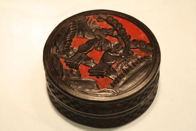 Antique 19th Century Chinese Black & Red Carved Cinnabar Laquer Box & Cover Qing