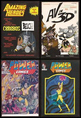 Dave Sim Set of 4 CEREBUS related Comics Amazing Heroes #201~AV in 3D~Power #1
