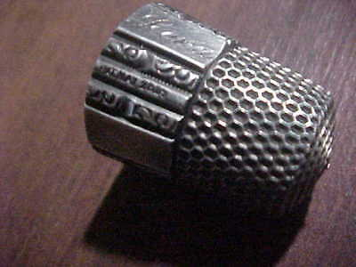 antique STERLING silver 10 thimble pat MAY 28,89 LENA panel