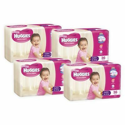 Huggies Ultra Dry Girls Nappies, 144 Pack - Toddler Size 4, Weight 10 - 15kg