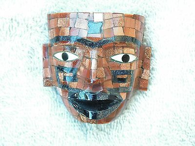 Teotihuacan Mask Gold Venturina & Blue Stone  New