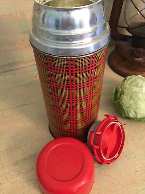 Vintage Plaid Aladdin Retro Picnic Thermos Large Holiday decor Tartan