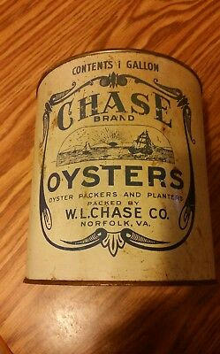 Rare W.l, Chase Oyster One Gallon Can Norfolk Va.