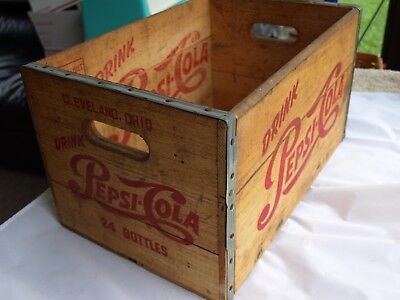 Vintage 1950's Drink Pepsi Cola 24 Bottle Wood Crate Cleveland, Ohio Excellent