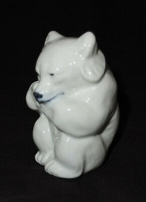 Royal Copenhagen White Polar Bear Cub Sitting #235 - MINT