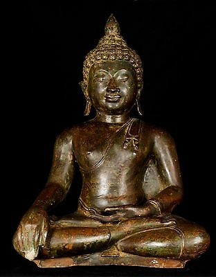 Large 19th Century Antique Chiang Saen Enlightenment Buddha Statue - 50cm/20""