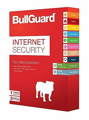 Anti-Virus Bullguard New Version 3 Computers For 1 Year Internet Security