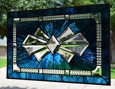 """Stained Glass Window Panel """"Blue Bow Bevel"""""""