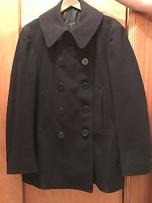 Vintage 40's Navy Pea Coat Naval Clothing Factory 10 Button Wool