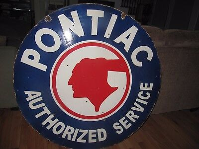 Large Pontiac Dealer Double sided Porcelain Sign