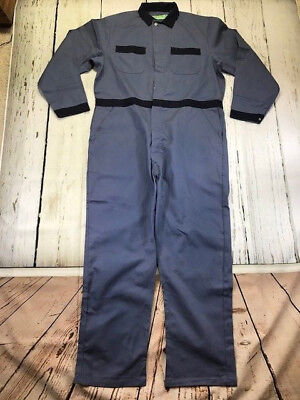 New! Industrial Work Coverall, 100% Cotton, Post Blue/Navy Blue,CU Brand by REED