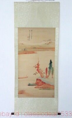 Large CHINESE Watercolor Painting Hand-Painted Landscape On Silk FG59