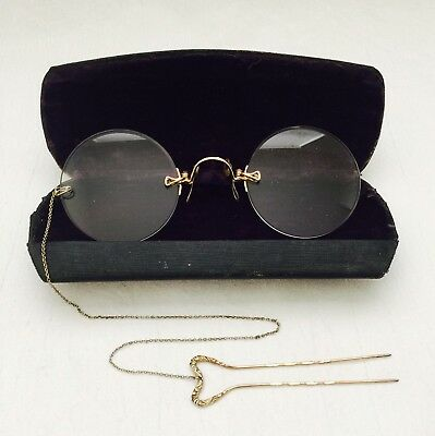 ANTIQUE Gold Tone / Filled? PINCE Nez 'MARCO' SPECTACLES + Hairpin Chain & Case